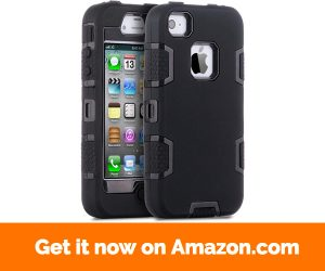 iPhone 4 Case,iPhone 4S Case,ULAK KNOX ARMOR Shockproof Heavy Duty Combo Hybrid Defender High Impact Body Rugged Hard PC & Silicone Case Protective Cover For Apple iPhone 4 4S (Black Black)