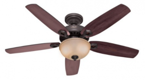 Hunter 53091 Builder Deluxe 5-Blade Single Light Ceiling Fan with Brazilian Cherry:Stained Oak Blades and Piped Toffee Glass Light Bowl, 52-Inch, New Bronze