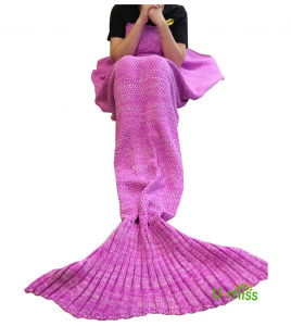 "U-miss Mermaid Blanket Crochet and Mermaid Tail Blanket for Adult, Super Soft All Seasons Thicken Sleeping Blankets(71""x35.5"", Pink)"