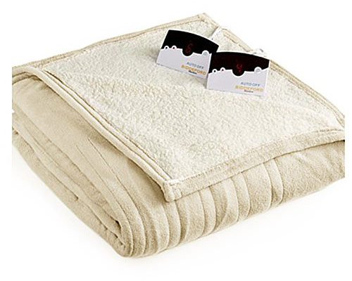 Biddeford MicroPlush Sherpa Electric Blanket - Cream