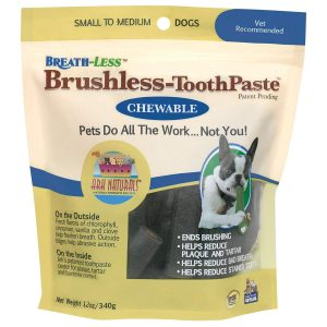 Ark Naturals Breath-less Brushless Toothpaste, Dental Chews for Dogs, Plaque, Tartar, and Bacteria Control, Freshen Breath, Chewable, Natural Ingredients