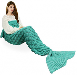 "Handmade Mermaid Tail Blanket Crochet , T-tviva All Seasons Warm Knitted Bed Blanket Sofa Quilt Living Room Sleeping Bag for Kids and Adults(72.8""x35.5"", Fish-scales Mint Green1)"