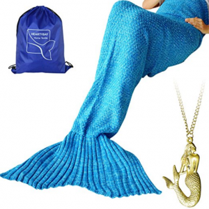 "Heartybay Crochet Mermaid Tail Blanket for Adult, Super Soft All Seasons Sleeping Mermaid Blanket (71""x35.5"") - Blue"