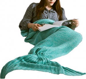 "Hughapy knitted Mermaid Tail Blanket for Adults Teens,Kids Crochet Snuggle Mermaid,All Seasons Seatail Sleeping Blanket (71""x32"", Thin-Mint Green)"
