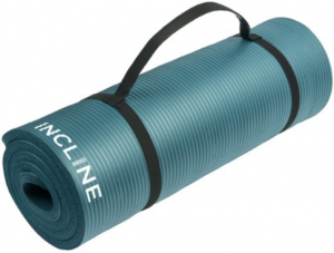Incline Fit Comfort Foam Yoga and Exercise Mat with Carrying Strap, Midnight Blue