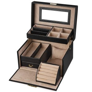 SONGMICS Jewelry Box, Girls Jewelry Organizer and Storage, Lockable Black UJBC114
