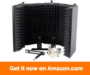 Studio Microphone Soundproofing Acoustic Foam Panel by Griffin | Soundproof Filter | Sound Diffusion Mic Booth Shield | Insulation Diffuser|Noise Deadening Absorbing Barrier for Audio Music Recording