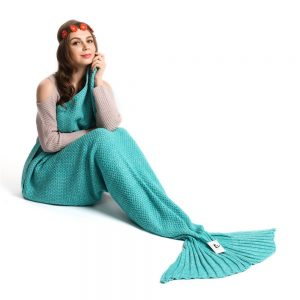 Kpblis Warm and Soft Mermaid Tail Blanket diffenrent Colors Mermaid Blanket for Kids and Adult 71-35-inches( Green )