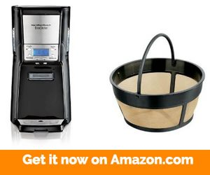 Hamilton Beach 12-Cup Coffee Maker, Programmable Brewstation Summit Dispensing Coffee Machine (48464) and Hamilton Beach 80675 Permanent Gold Tone Filter, 8 to 12-Cups Bundle