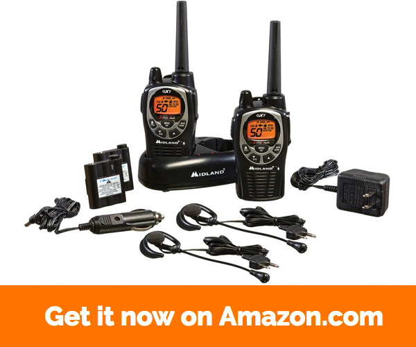 Midland GXT1000VP4 36-Mile 50-Channel FRS GMRS Two-Way Radio (Pair) (Black Silver)