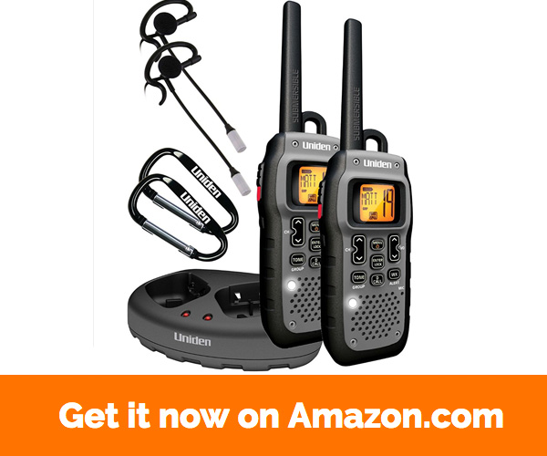 Uniden Submersible 50 Mile FRS GMRS Two-Way Radios with Charging Kit - Dark Grey (GMR5089-2CKHS)