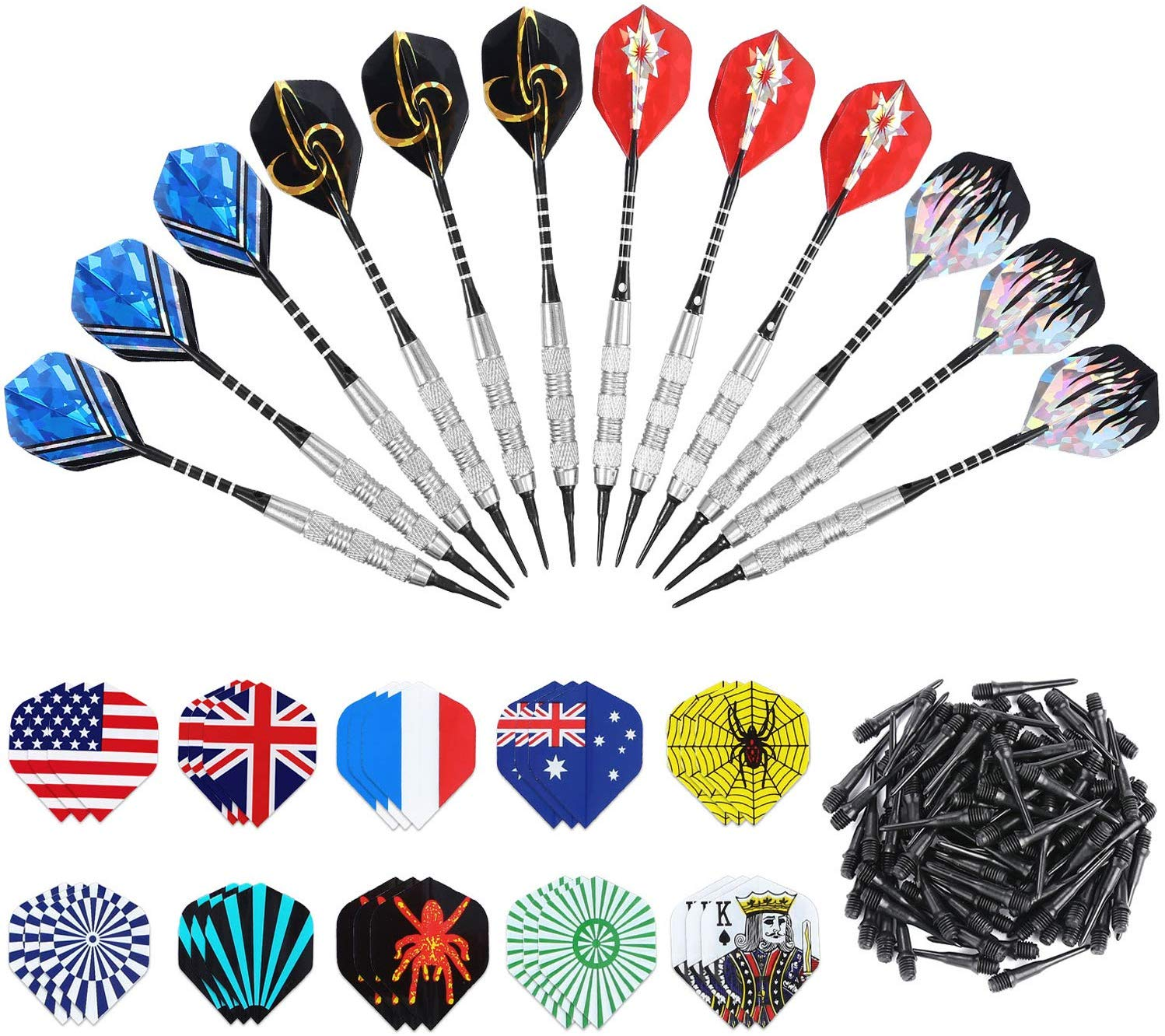 ANSOWNY Soft Tip Darts for Electronic Dartboard, 18 Grams Darts Plastic Tip Sets with Aluminum Shafts, Brass Steel Barrels, 12 Pack + Extra 100 Pcs Dart Tips & 30 Dart Flights