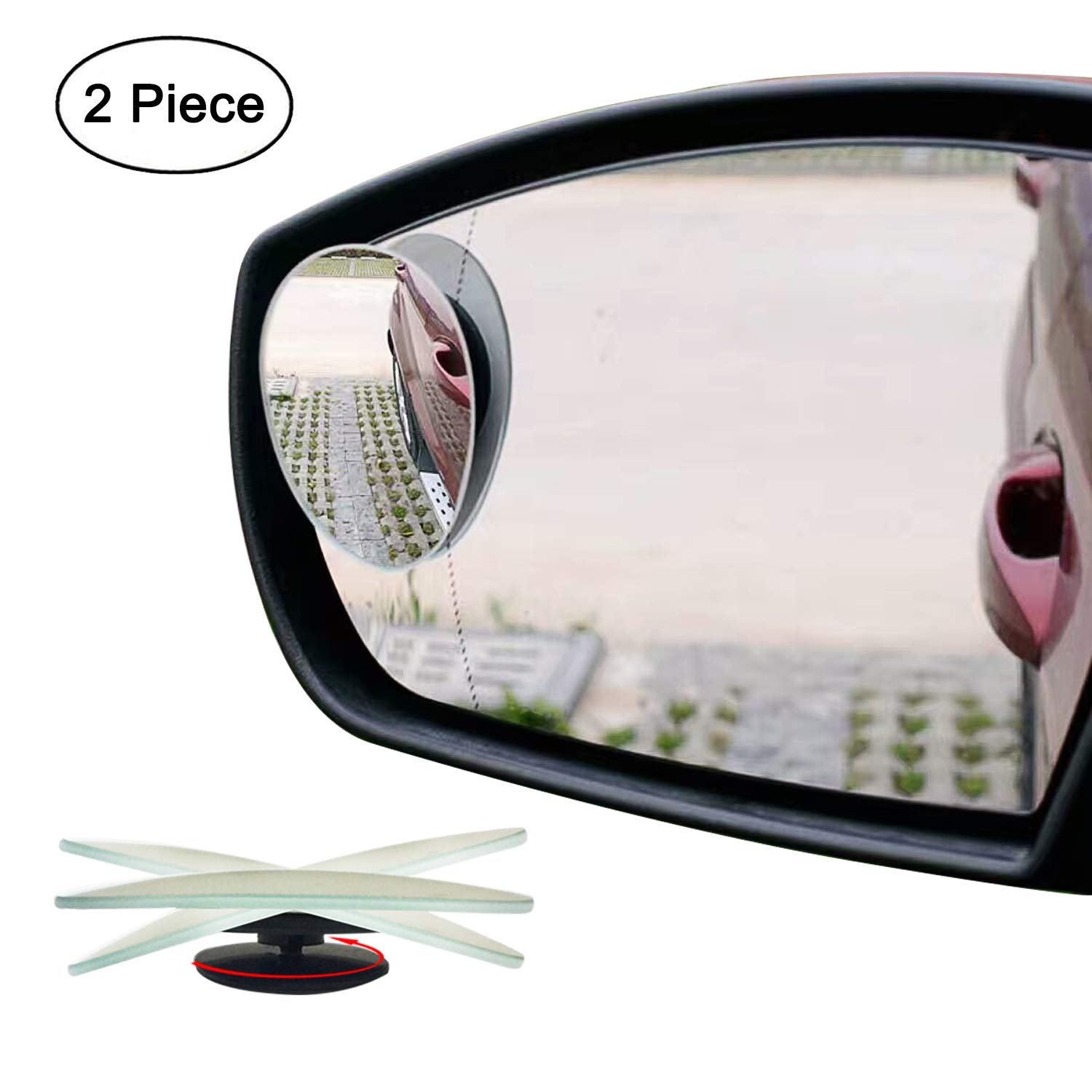 Ampper Oval Blind Spot Mirrors, Frameless 360 Degree Rotate + Sway Adjustabe HD Glass Convex Wide Angle Rear View Car SUV Stick On Lens (Pack of 2)