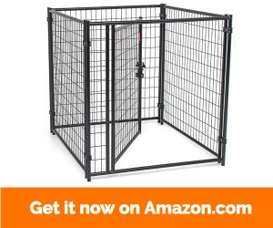 Dog Kennel with Waterproof Cover- Lucky Dog Modular Box Kennel - This Welded Animal Enclosure is Perfect for Medium to Large Dogs and Animals and is Designed with Their Safety and Comfort In Mind