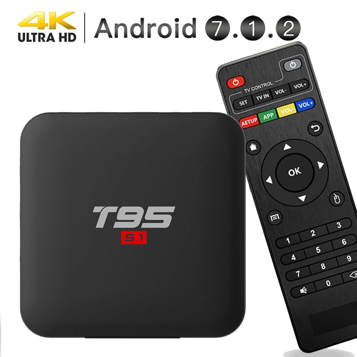 EASYTONE Android 7.1.2 TV Box,2018 Model Smart TV Box Quad-core 64 Bits 1GB+8GB Supporting 4K (60Hz) Full HDz H.265 2.4G WiFi HD 2.0 T95 Android Box