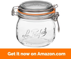 4 Le Parfait Super Jars - Wide Mouth French Glass Preserving Jars - Zero Waste Packaging (4, 500ml - 16oz - Pint)