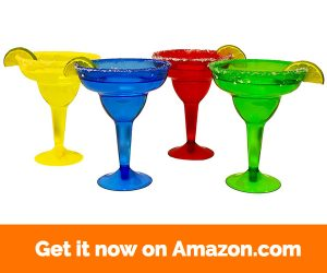 KINREX Margarita Glasses - Plastic - Cinco de Mayo Party - Assorted Red, Blue, Green and Yellow - 11.5 Ounces - 20 Count