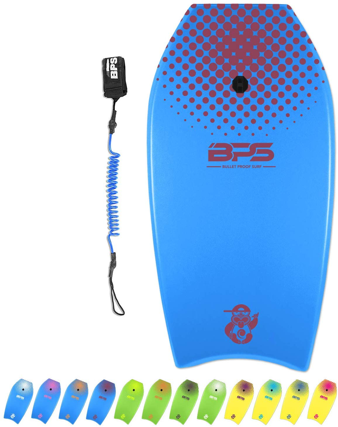 BPS 'Green Machine' Bodyboard with Wrist Leash - Strong TPU Wrist Leash and Constructed with HPDE Slick Bottom