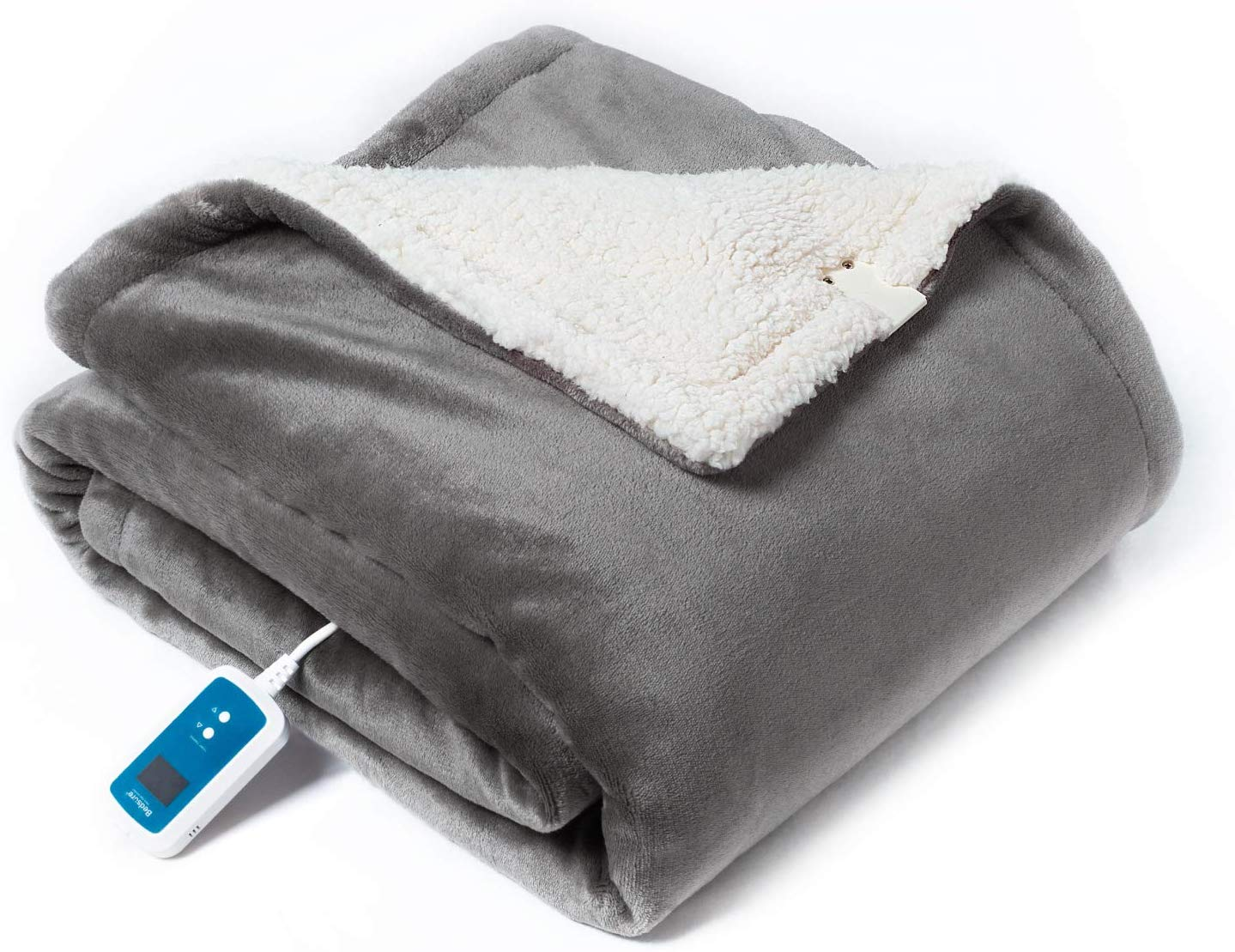 Bedsure Washable Electric Heated Blanket Throw, 50x70 inches - Low-Voltage Fast Heating Blanket with 21 Heat Settings, Auto Shut-Off, Overheating Protection