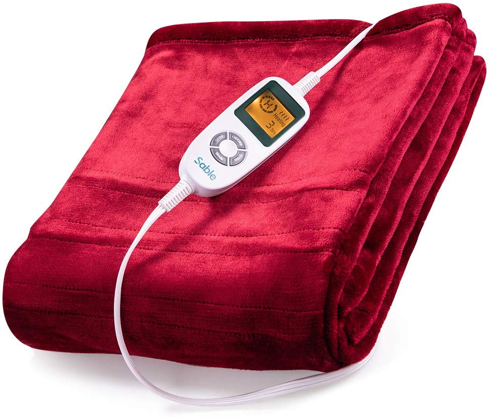 Sable Electric Throw, Heated Blanket Fast-Heating, Full Body Warming ETL Certified, 10 Temperature Settings Auto Off