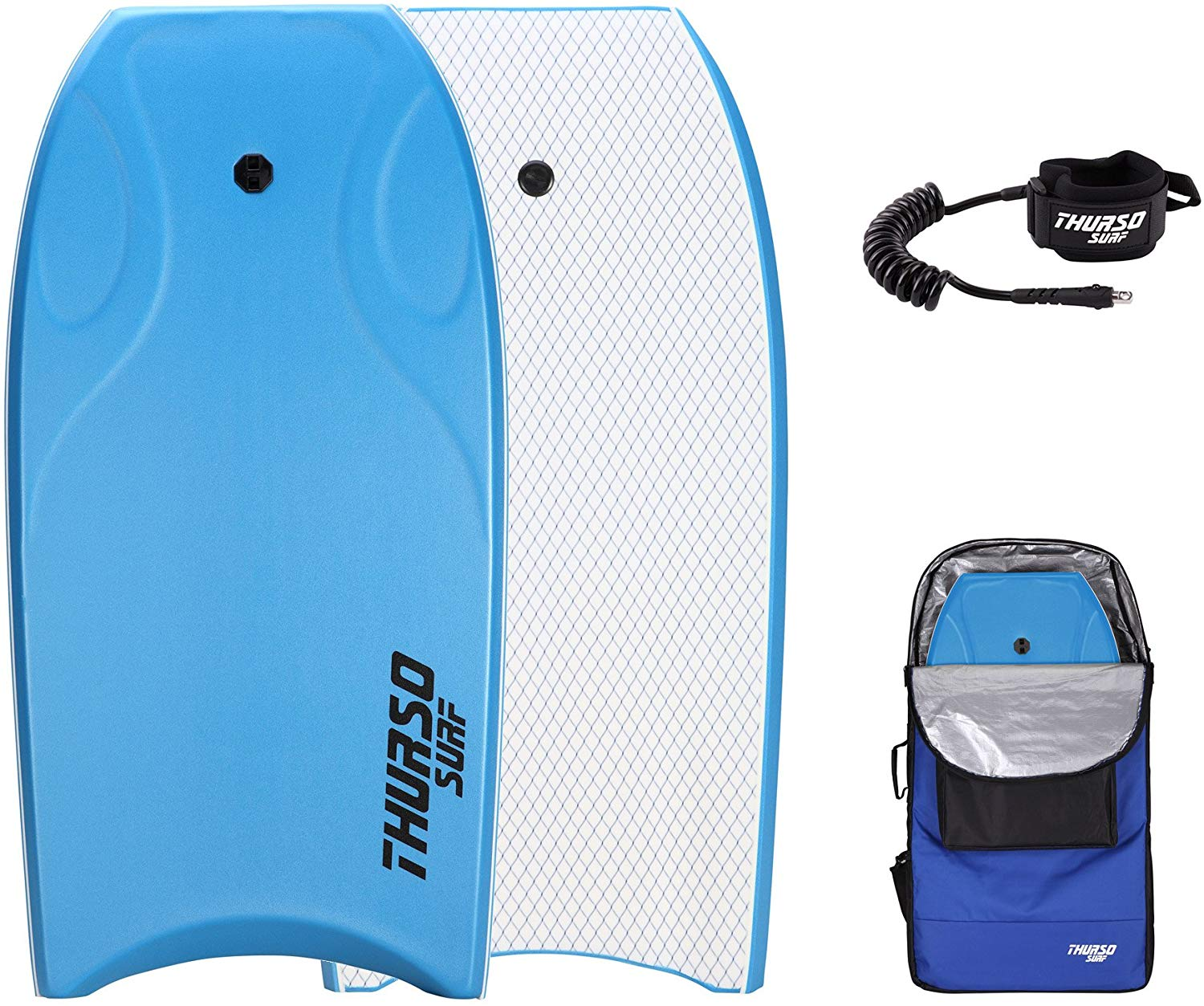 THURSO SURF Lightning 42 inch Bodyboard Package PE Core IXPE Deck HDPE Slick Bottom Durable Lightweight Includes Double Stainless Steel Swivels Leash and LUX Bodyboard Bag