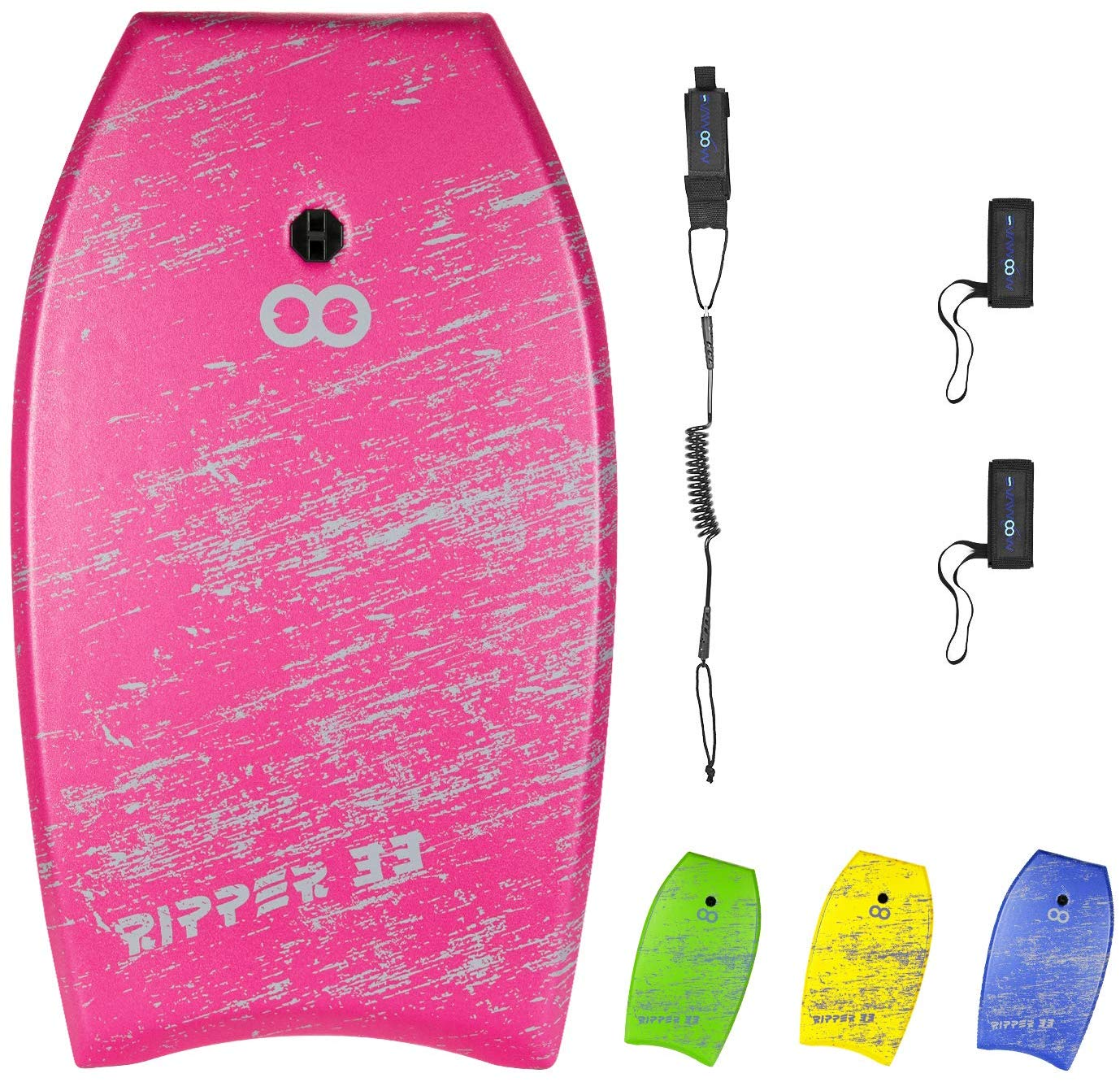 WOOWAVE Bodyboard 33-inch or 36-inch or41-inch Super Lightweight Body Board with Premium Coiled Wrist Leash, Swim Fin Tethers, EPS Core and Slick Bottom