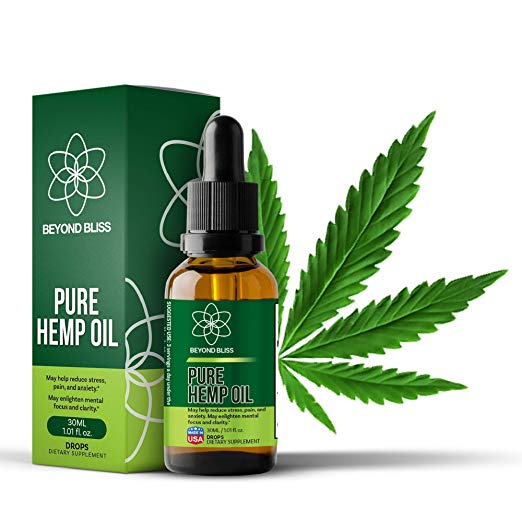 Beyond Bliss Hemp Oil Drops - 650 milligrams - Promotes Pain Relief - USA Made - Anxiety or Stress Relief Supplement - Natural Extract - Organic - Joint Support