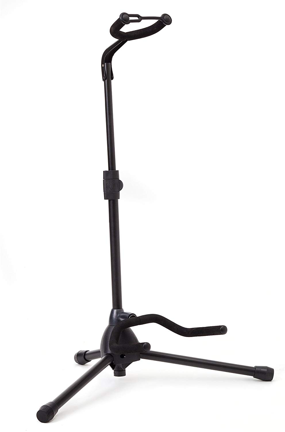 Universal Guitar Stand by Hola! Music - Fits Acoustic, Classical, Electric, Bass Guitars, Mandolins, Banjos, Ukuleles and Other Stringed Instruments - Black