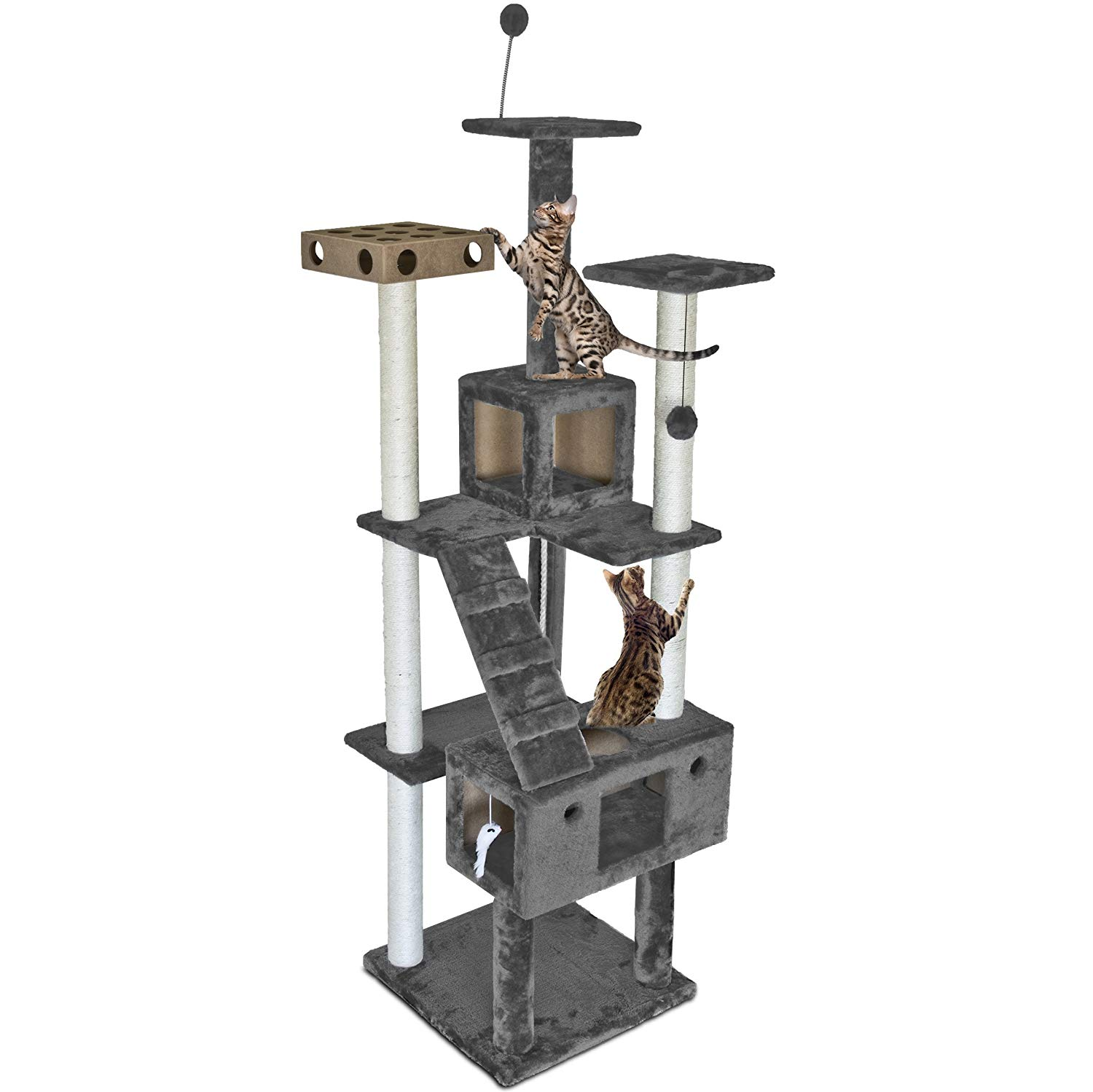 FurHaven Tiger Touch Cat Tree House Furniture