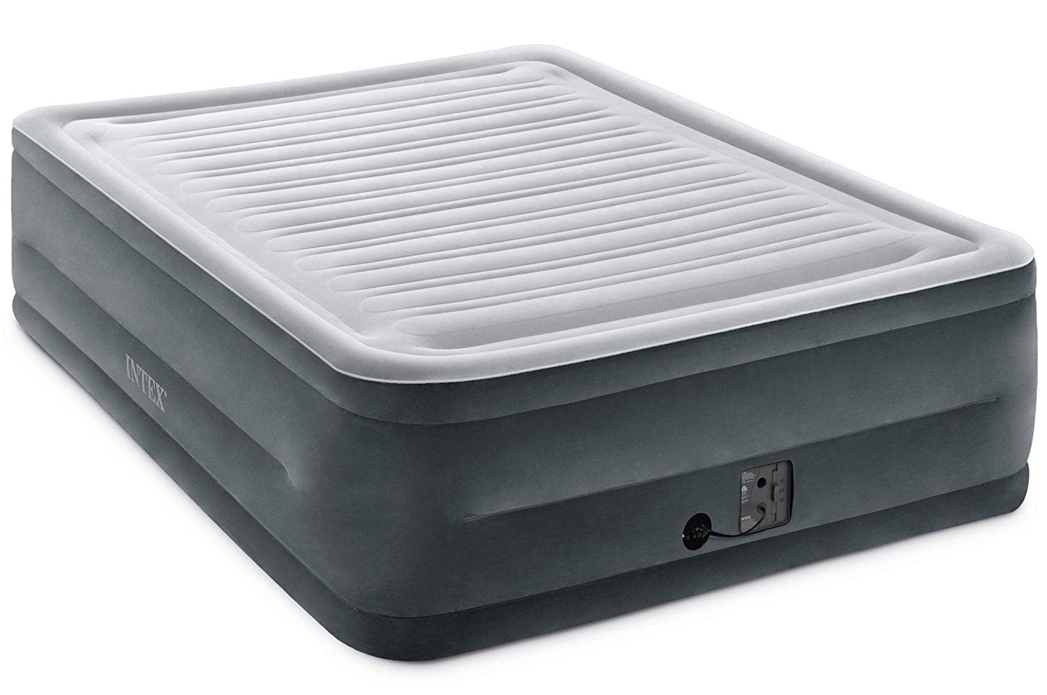 Intex Comfort Plush Elevated Dura-Beam Airbed with Internal Electric Pump, Bed Height 22 Inches, Queen