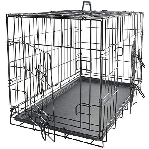 Dog Crate Double-Door Folding Metal - Wire Cage with Divider & Tray for Training Pets - 2019 Newly Designed Model