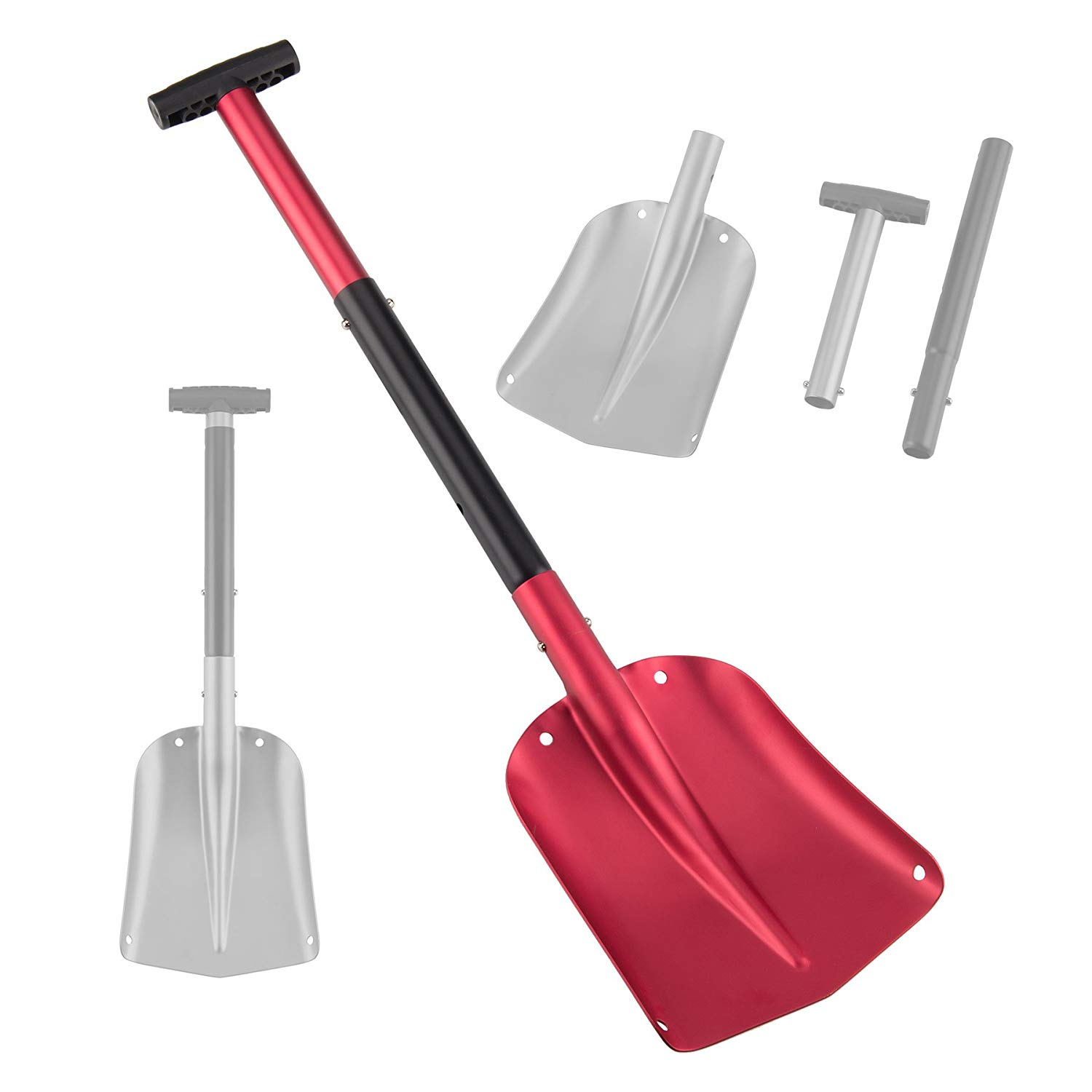 Pinty 26-32 Inch Aluminum Lightweight Utility Shovel Adjustable and Collapsible Winter Snow Shovels for Car Camping Garden (Red)