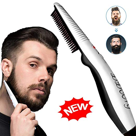 Beard Straightener Comb,Quick Electric Heated Beard Brush Beard Styler for Men