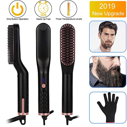 Beard Straightener for Men - Candywe 3-in-1 Ionic Heated Beard and Hair Straightening Comb, Beard Straightener Brush