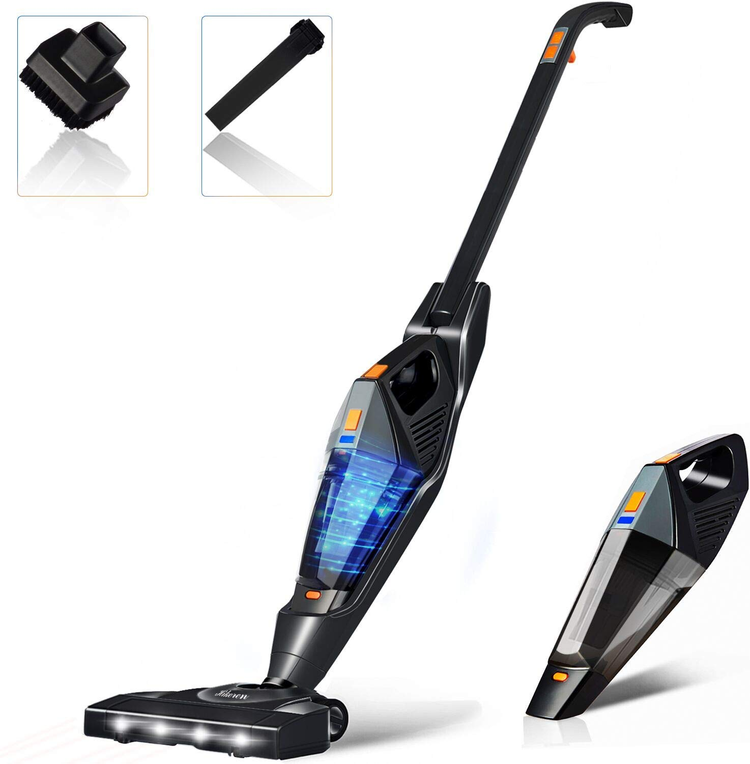 Cordless Vacuum, Hikeren Stick Vacuum Cleaner, 12KPa Lightweight 2 in 1 Stick Handheld Vacuum with Rechargeable Lithium Ion Battery and LED Brush for Floor Carpet Pet Hair, Black (Upgraded)