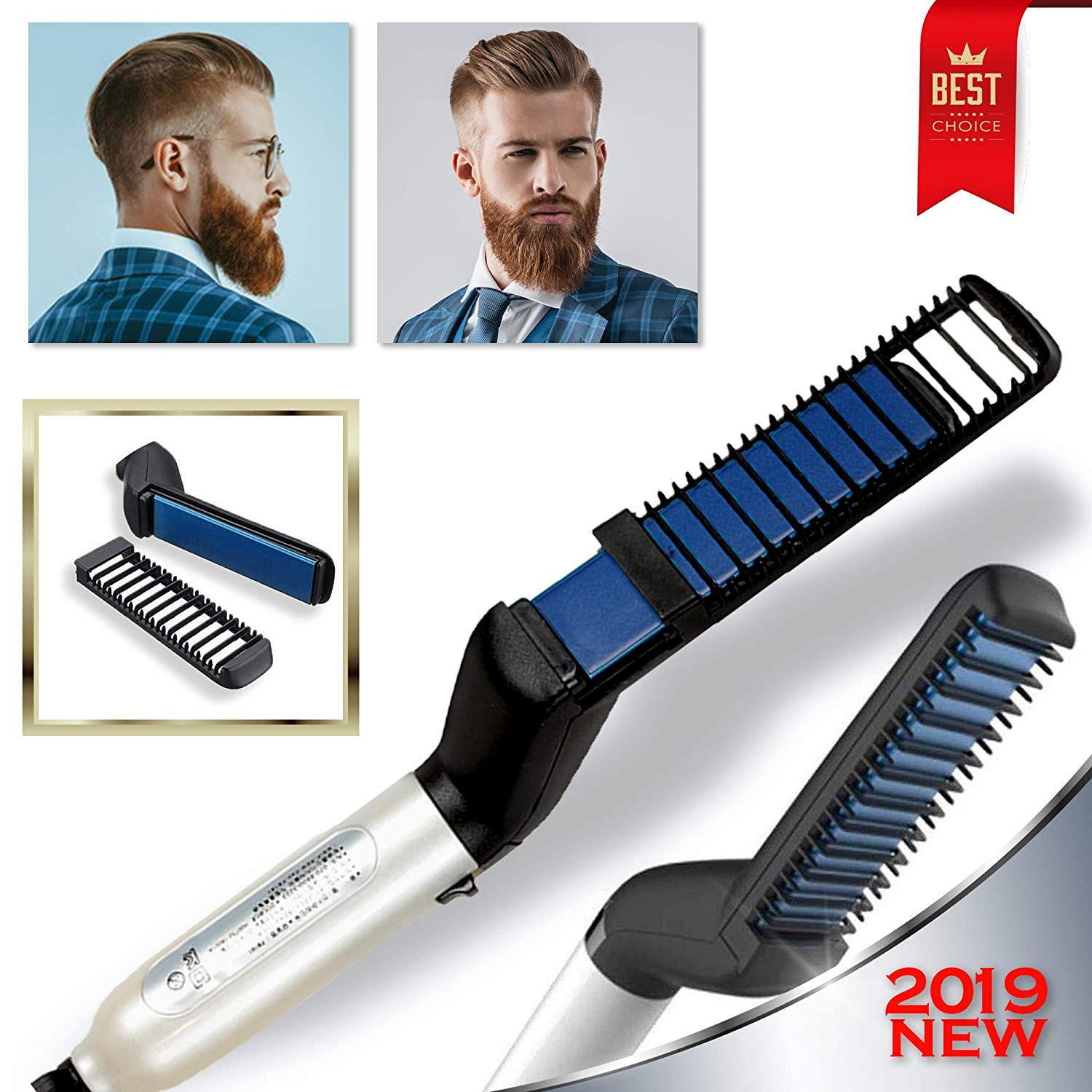 Cutie Academy Ionic Beard Straightening Comb - Detangling & Volumizing & Styling Beard Straightening Brush for Men