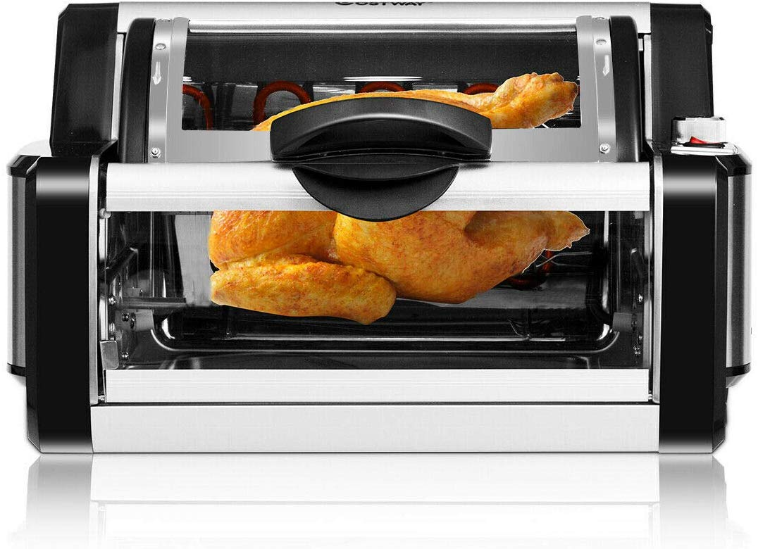 COSTWAY Horizontal Rotisserie Oven Grill, Upgraded Oven with Bake Tray and Rack Countertop Kebab with Drip Pan, Multifunctional Two Modes Grill Rotisserie Time Temperature Set Kitchen