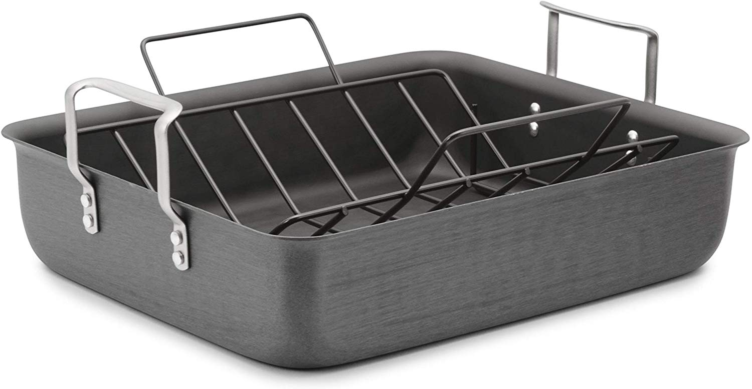 Calphalon Classic Hard-Anodized 16-Inch Roasting Pan with Nonstick Rack