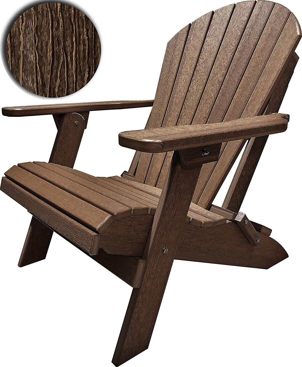DURAWEATHER POLY Classic King Size Folding Adirondack Chair (Antique Mahogany)