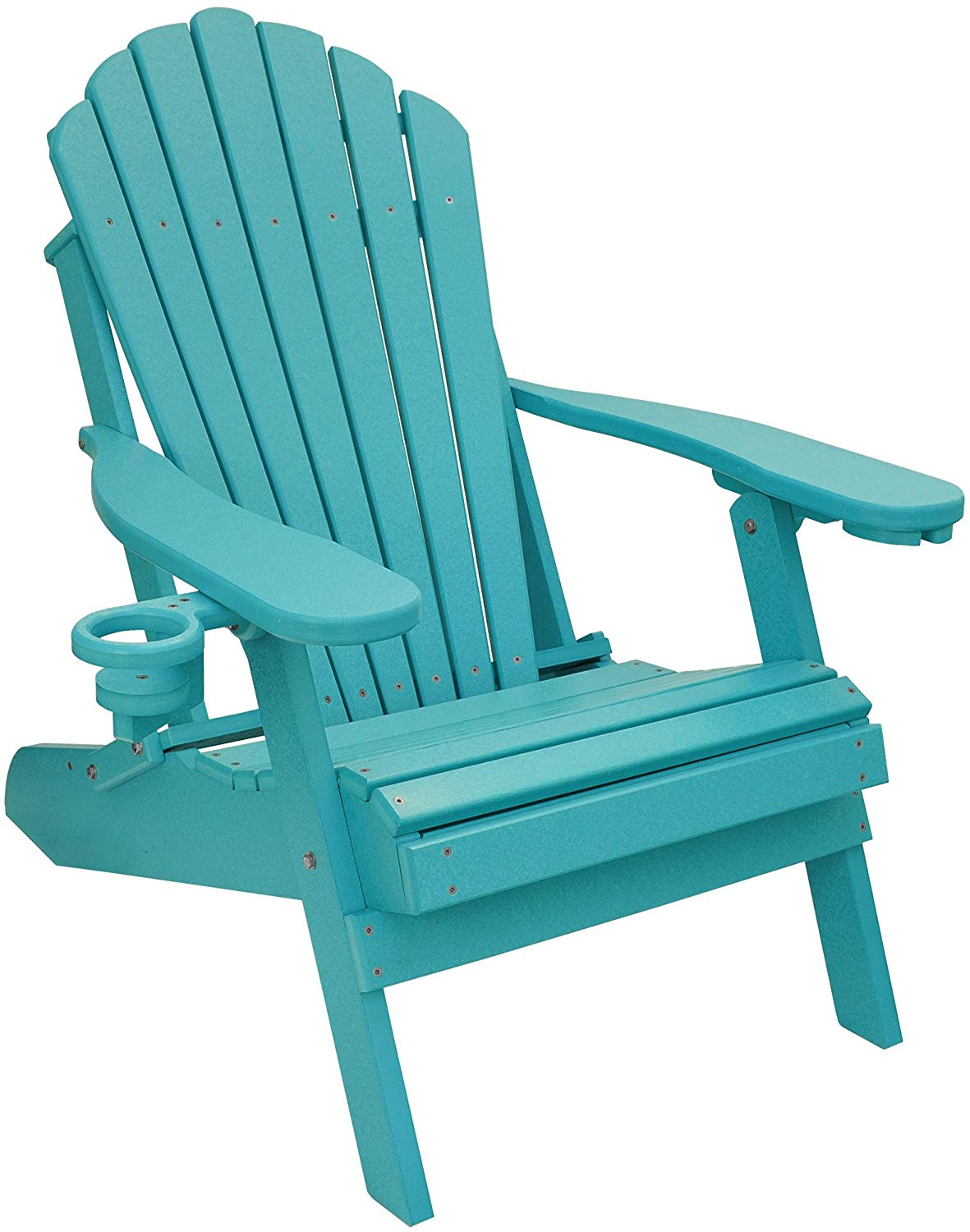 ECCB Outdoor Outer Banks Deluxe Oversized Poly Lumber Folding Adirondack Chair (Aruba Blue)