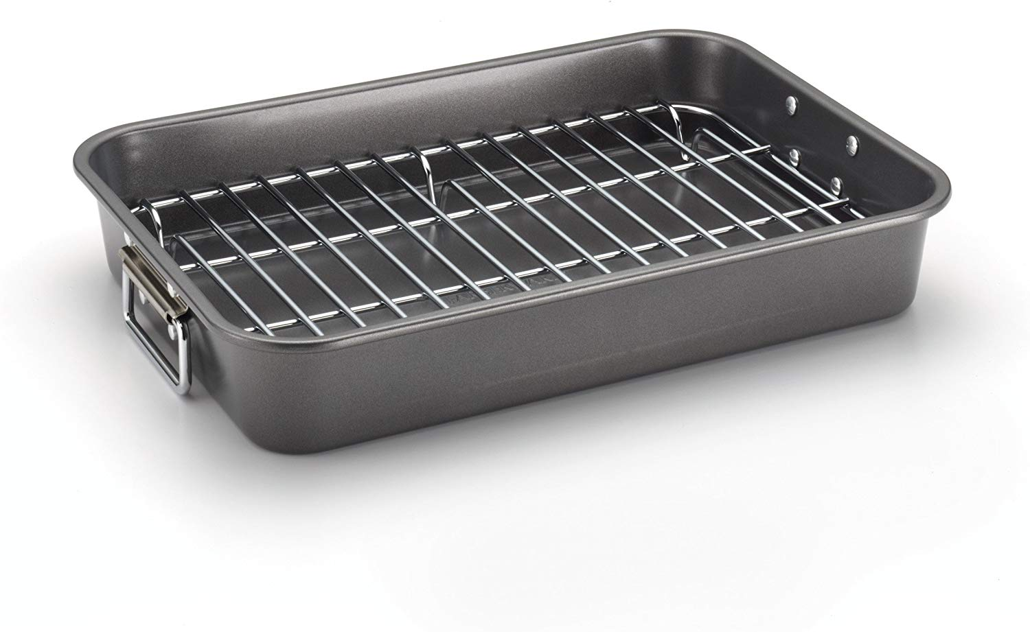 Farberware Nonstick Bakeware 11-Inch x 15-Inch Roaster with Flat Rack, Gray