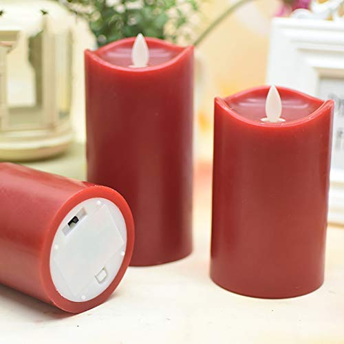 Flameless Candles,Red Flameless Candles,Flameless Candles Flickering,Wine Red Water Ripple Matte Candle Light
