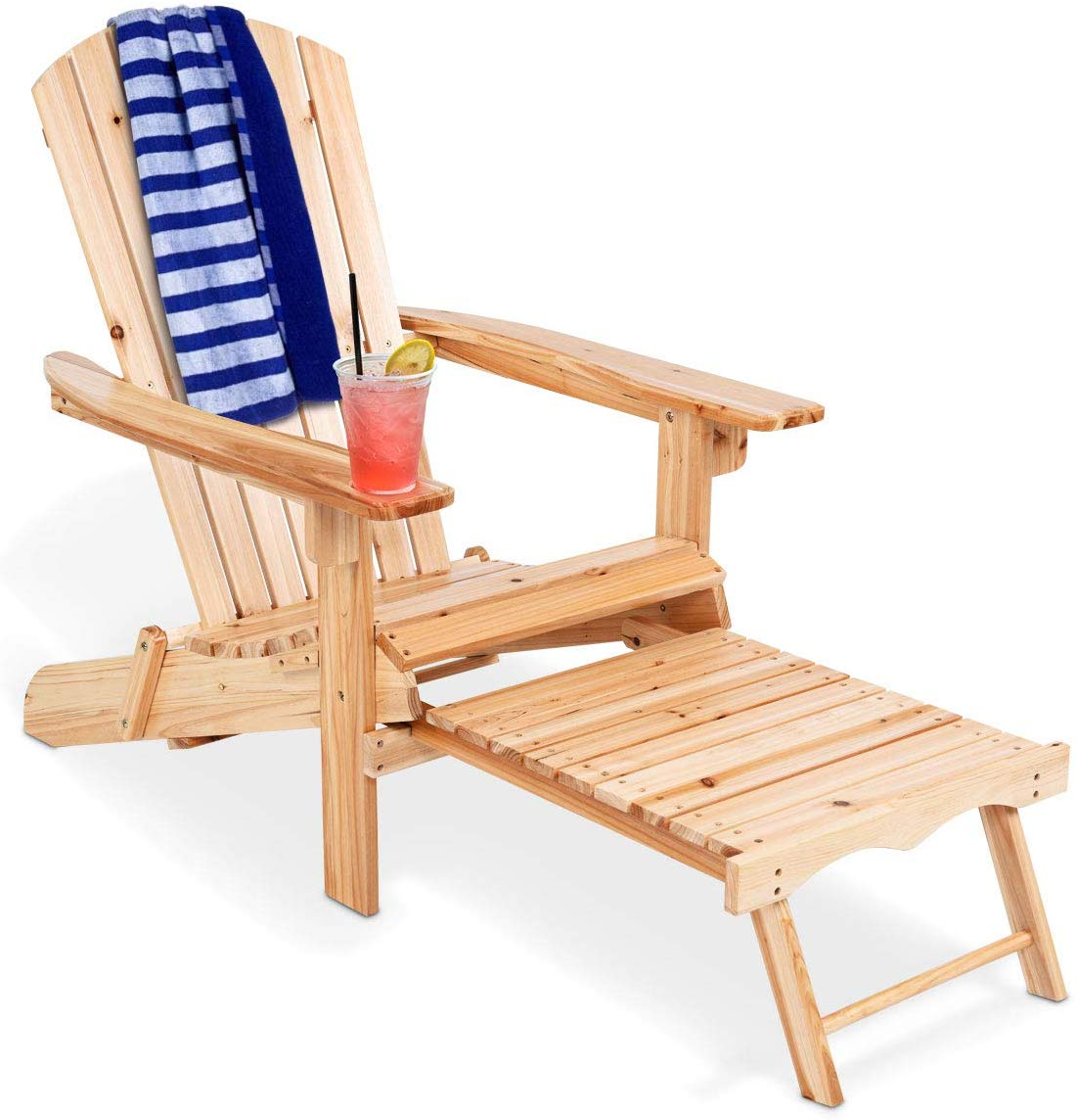 Giantex Adirondack Chair Foldable with Pull-Out Footrest, Outdoor Modern of 100% Solid Wood for Patio Decor Lawn Garden Porch Balcony, Large Wooden Folding Adirondack Chairs