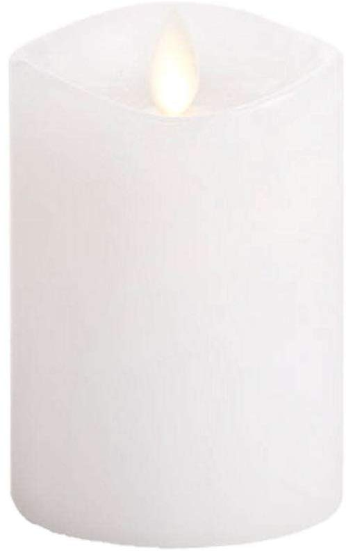 Luminara Flameless Candle_360 Degree Top, Unscented Moving Flame Candle with Timer (4in White)