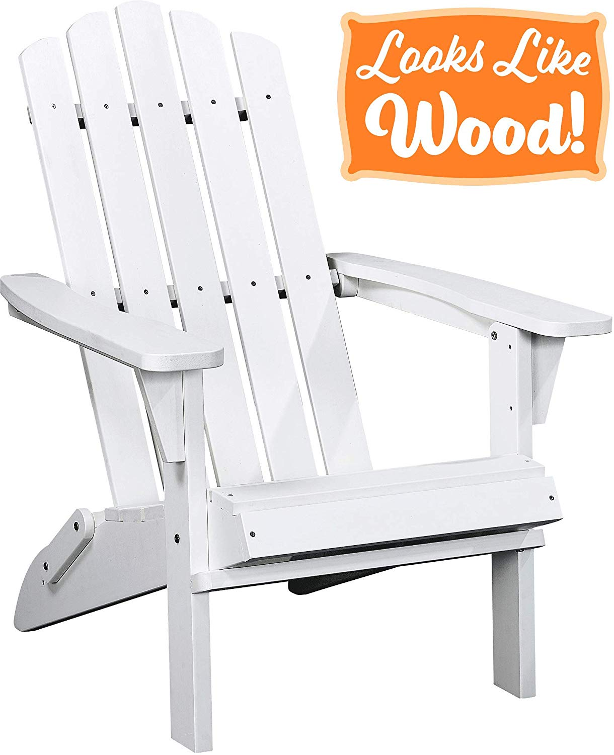PolyTEAK Classic Folding Poly Adirondack Chair, Powder White - Adult-Size, Weather Resistant, Made from Plastic