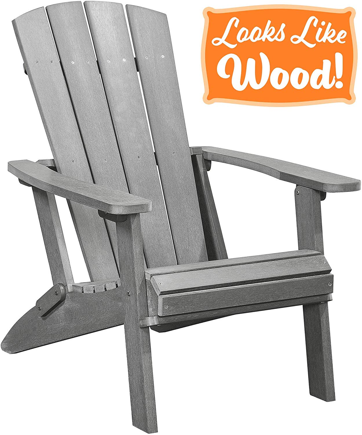 PolyTEAK Modern Oversized Folding Poly Adirondack Chair, Stone Gray - Adult-Size, Weather Resistant, Made from Plastic