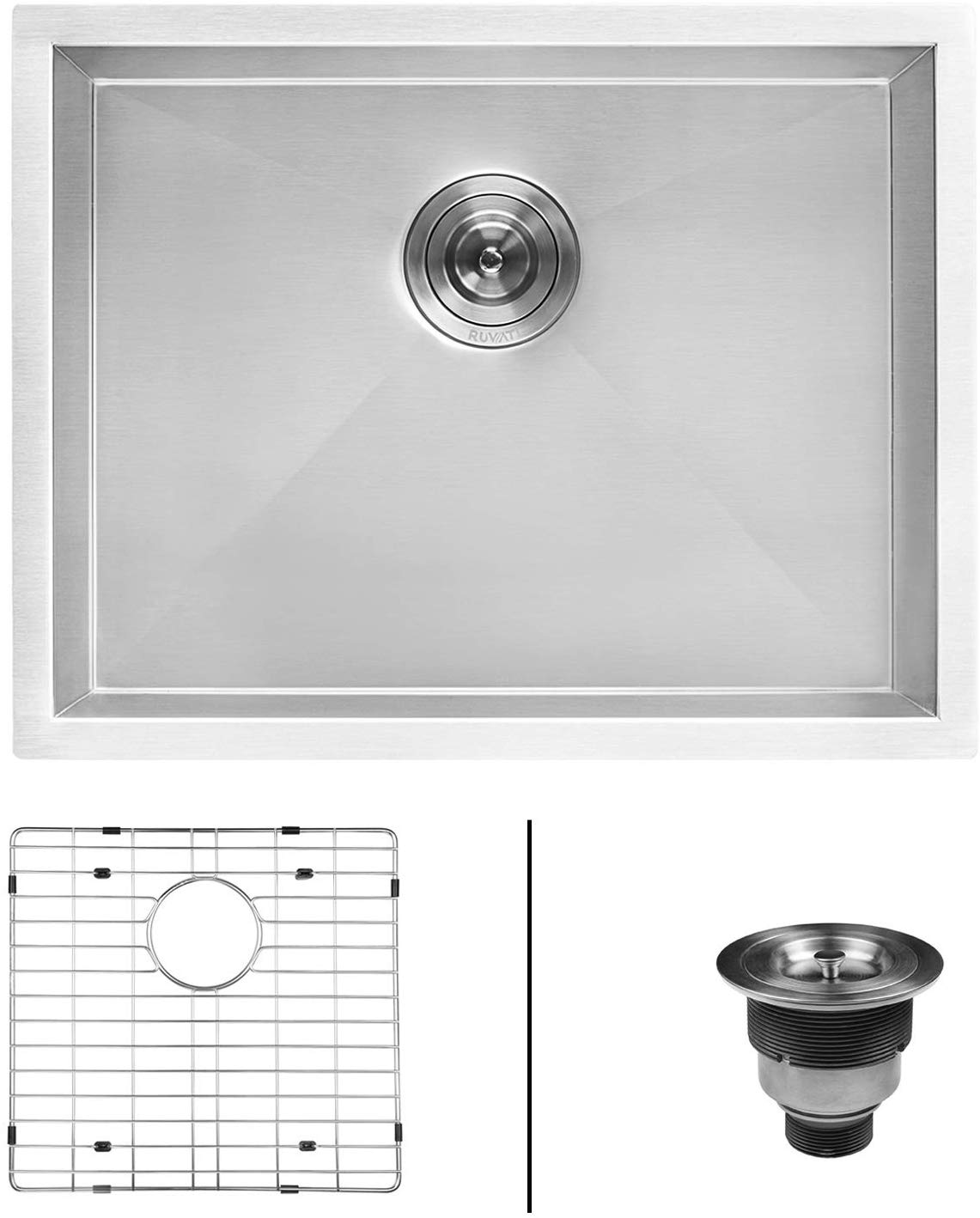 Ruvati 23in x 18in x 12in Deep Laundry Utility Sink Undermount 16 Gauge Stainless Steel - RVU6100