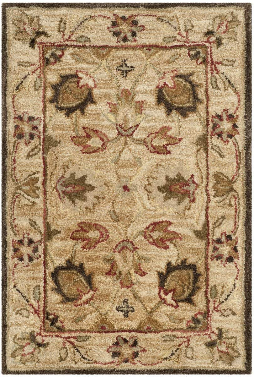 Safavieh Antiquities Collection AT812A Handmade Traditional Oriental Beige and Beige Wool Area Rug (2in x 3in)