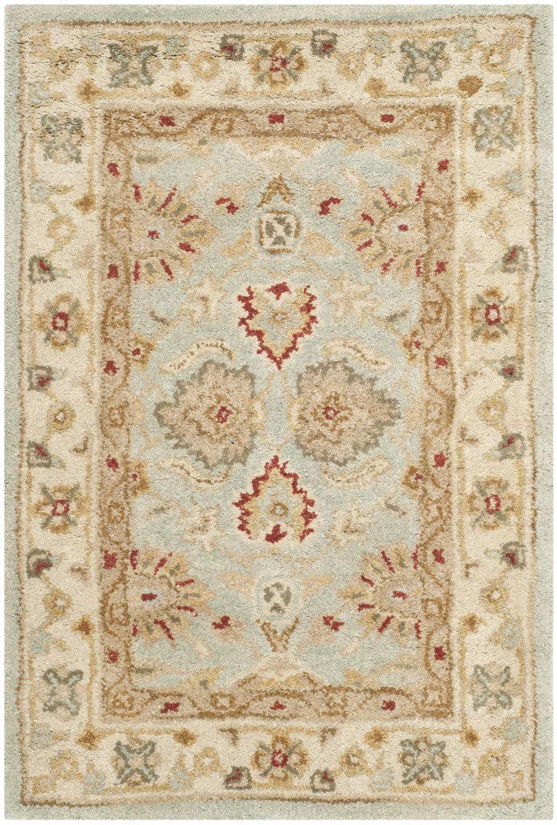 Safavieh Antiquities Collection AT822A Handmade Traditional Oriental Grey Blue and Beige Wool Area Rug (2.3in x 4in)