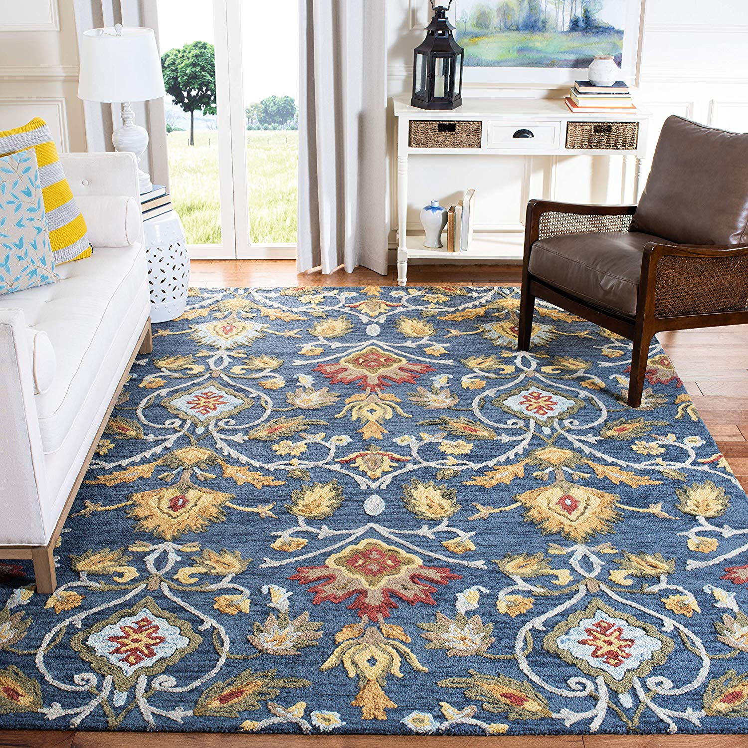Safavieh Blossom Collection BLM402A Handmade Navy and Multi Premium Wool Area Rug (4in x 6in)